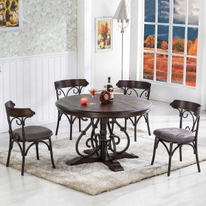 Round Antique Dining Table Set
