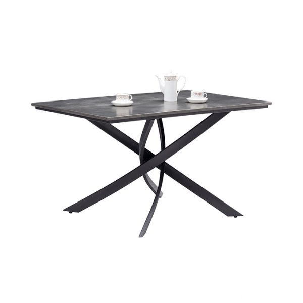 Minimalist Grey Rectangle Dining Table with Twist Legs